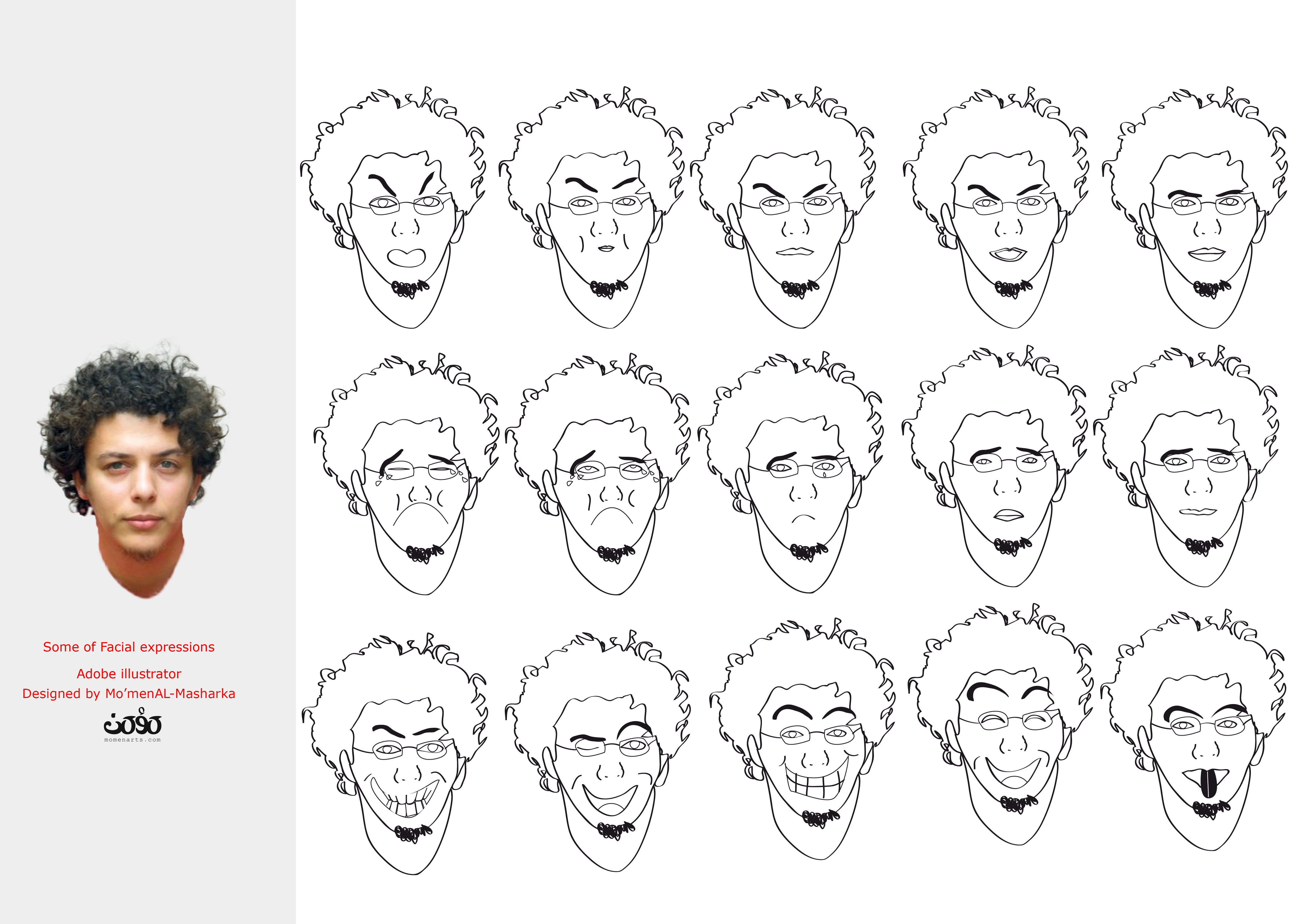 some of facial expressions illustration