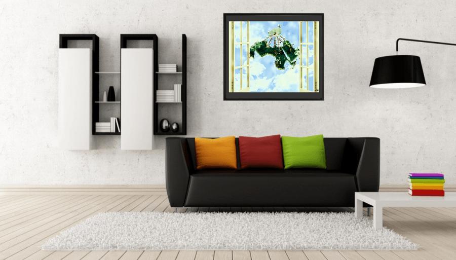 peaceful arab world minimalist poster in living room momenarts