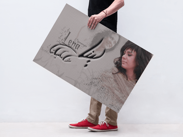 lena chamamyan poster of a Man Holding a Poster