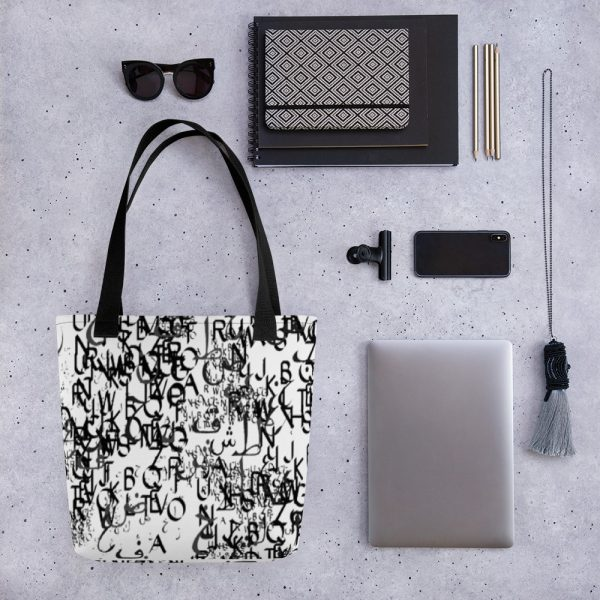 abstract typography -1 -Tote bag-black