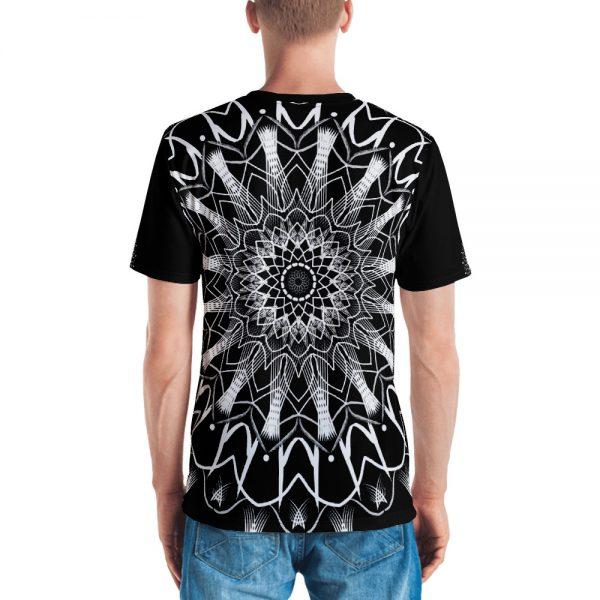 pattern mandala 01 -white on black neck -all over print Men's T-shirt-back
