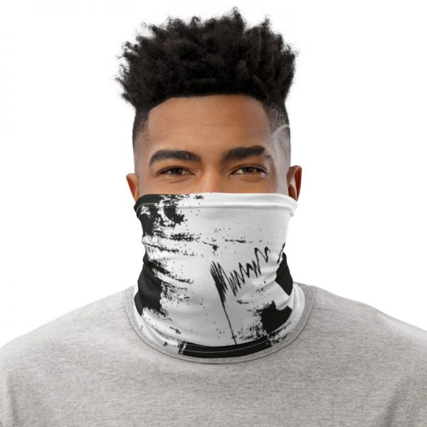 Abstract Typography 2 Neck Gaiter Front Mens White